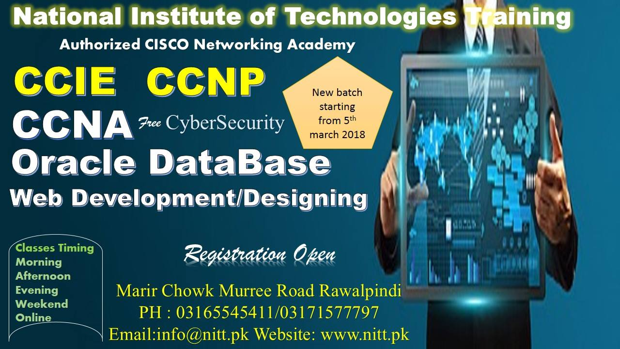 registration open in ccna, ccnp, ccie, oracle database, web development/desinging course.